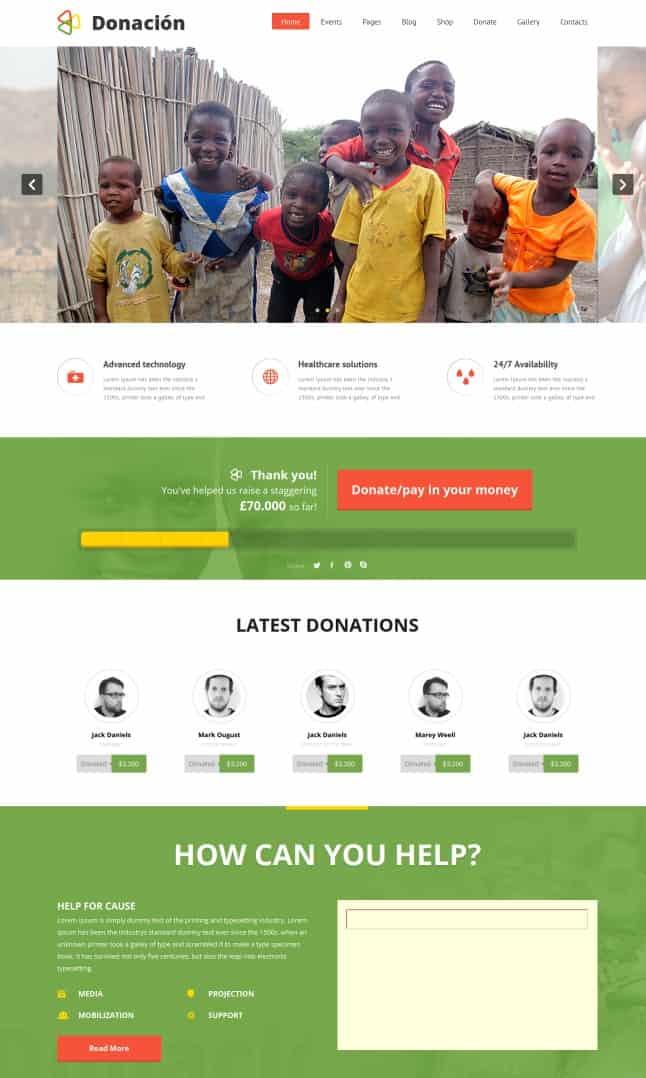 donation - charity wordpress themes