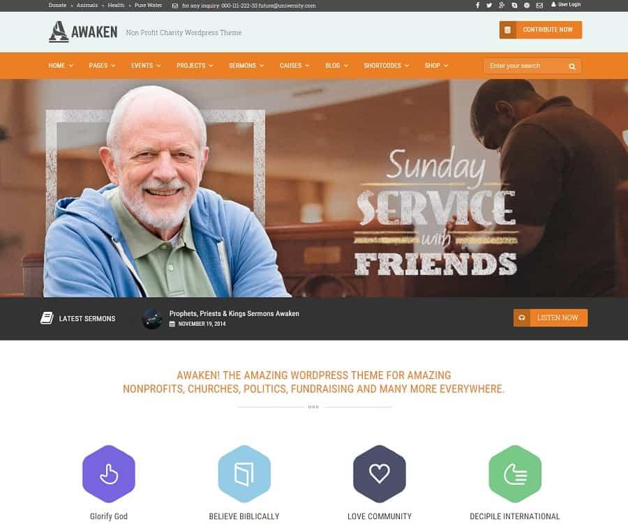 Awaken Non Profit Charity WordPress Theme