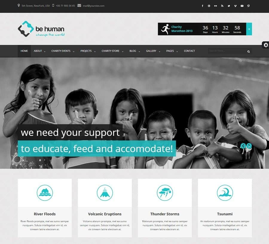 Charity Theme Home Page