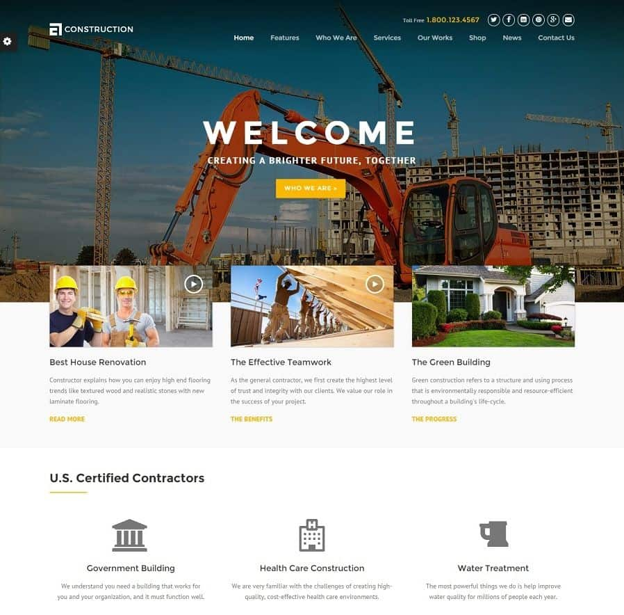 Best construction wordpress themes 2018 updated for Building design website