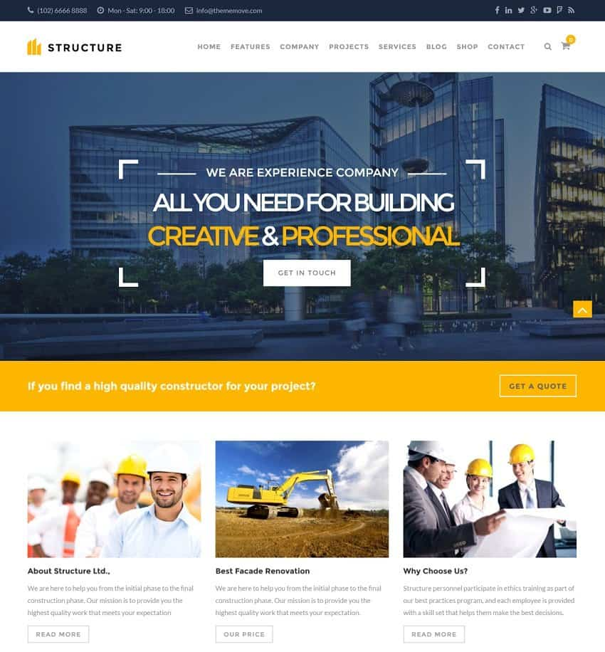 Best construction wordpress themes 2018 updated for Design building online