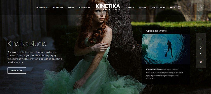 kinetika fullscreen photography theme