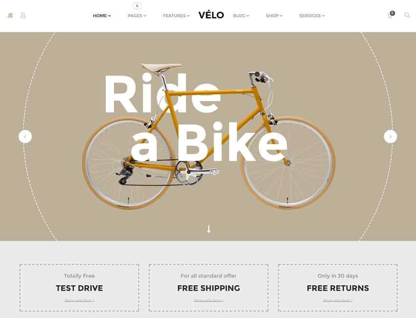 bike shop ecommerce template for wordpress