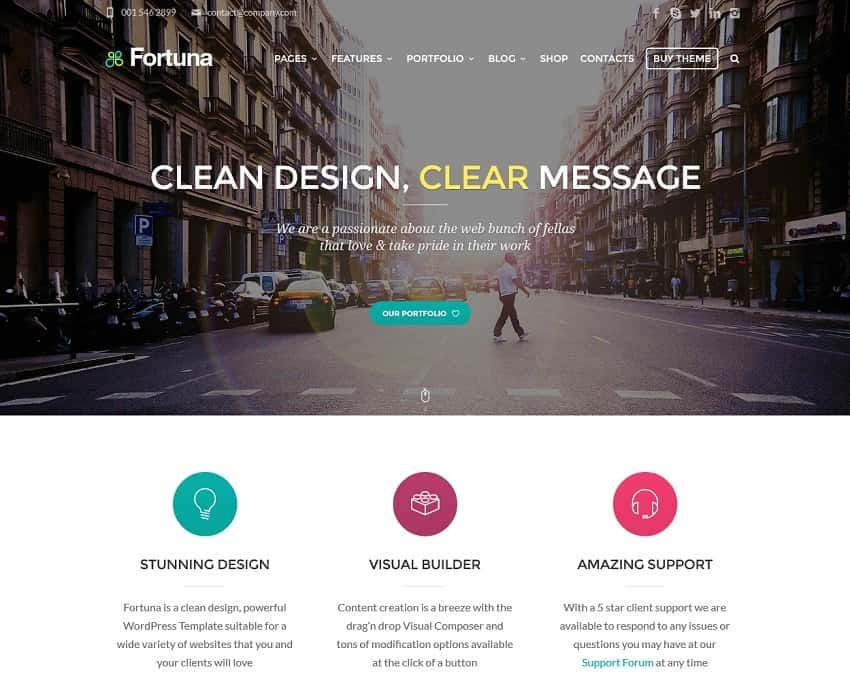 55 best business wordpress themes of 2018 updated fortuna corporate template flashek Gallery