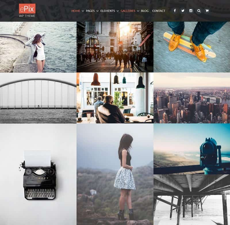 epix wordpress theme for photographers