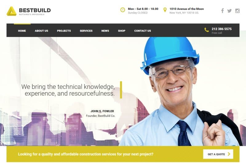 bestbuild - one of the best construction wordpress themes