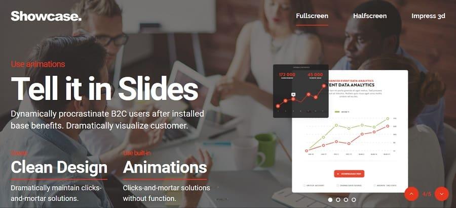 fullscreen slides theme for portfolio