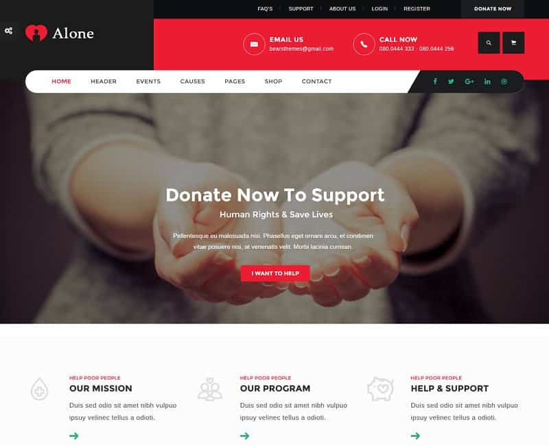 Alone - Charity WP Theme