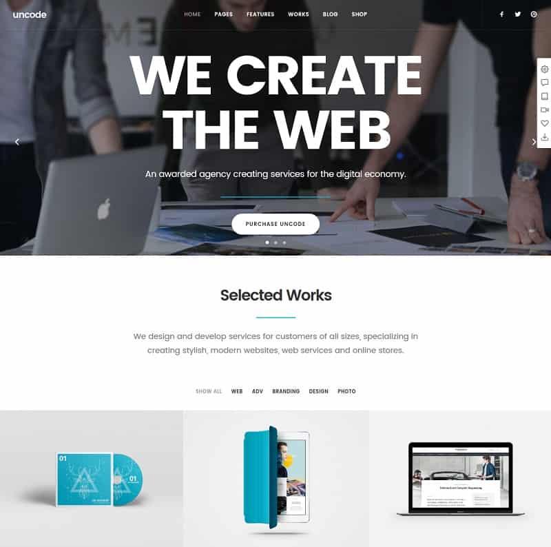 uncode - creative agency wordpress theme